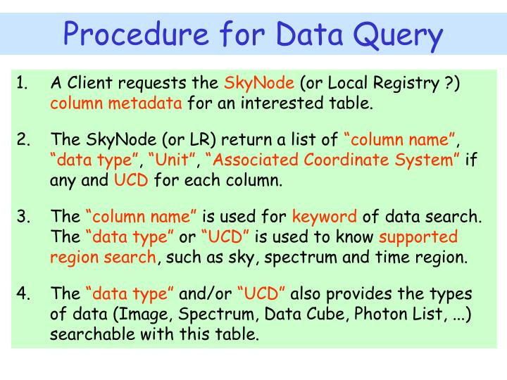 Procedure for Data Query
