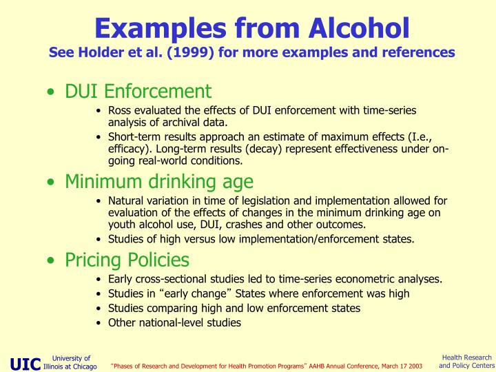 Examples from Alcohol