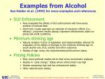examples from alcohol see holder et al 1999 for more examples and references