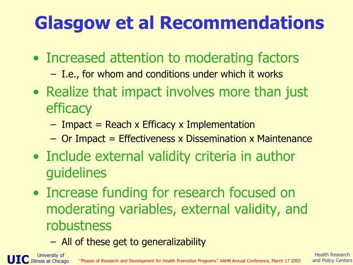 Glasgow et al Recommendations