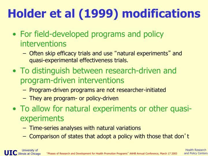 Holder et al (1999) modifications