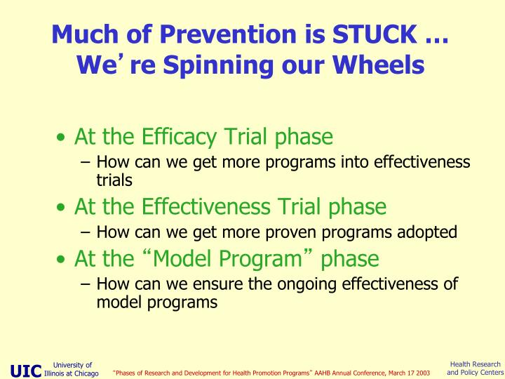 Much of Prevention is STUCK … We