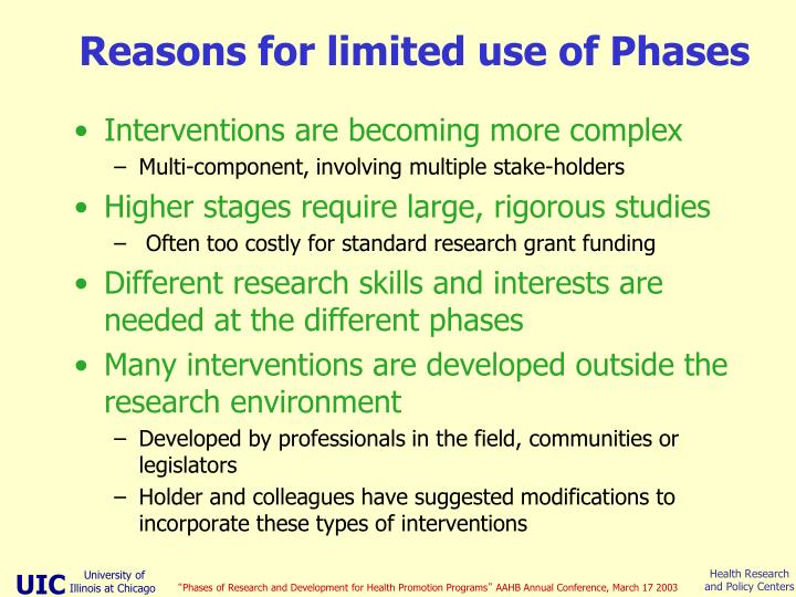 Reasons for limited use of Phases