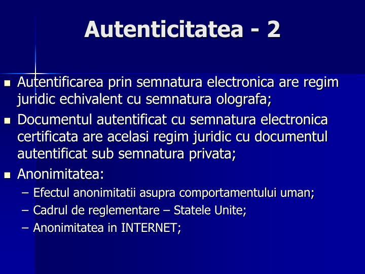 Autenticitatea - 2