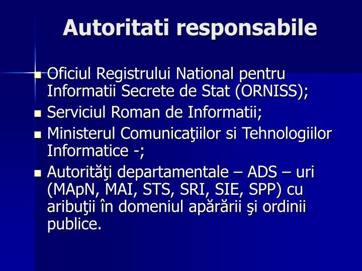 Autoritati responsabile