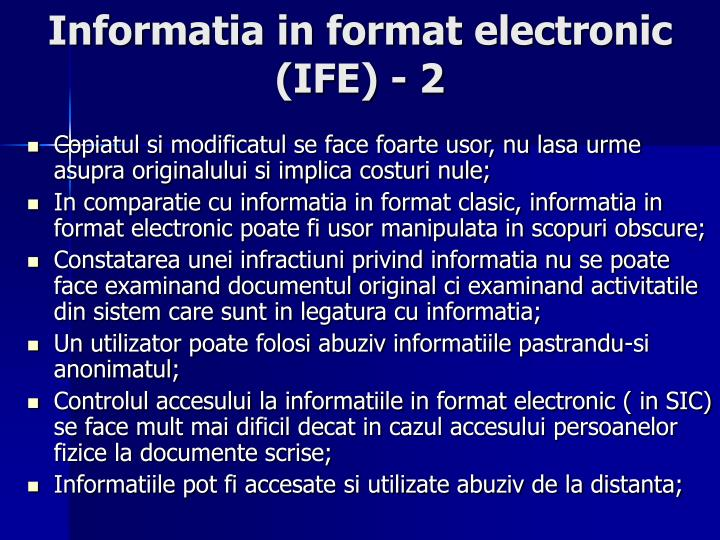 Informatia in format electronic (IFE) - 2