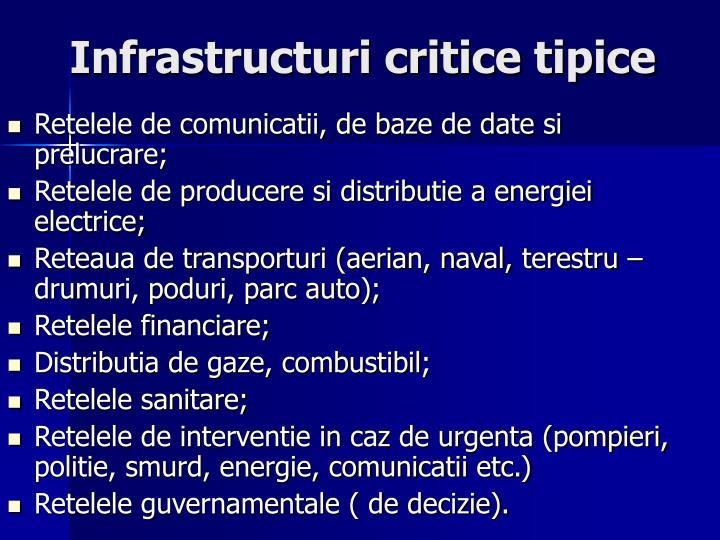 Infrastructuri critice tipice