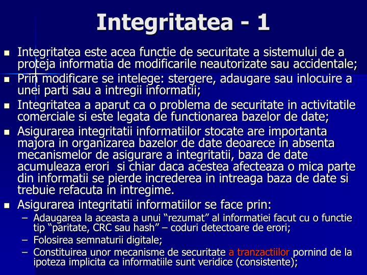 Integritatea - 1