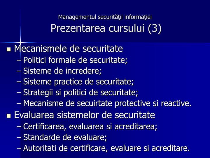 Managementul securităţii informaţiei