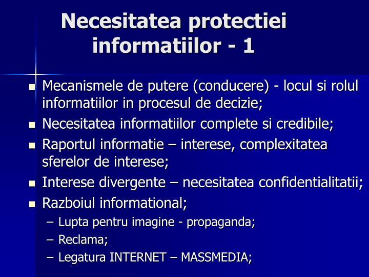 Necesitatea protectiei informatiilor - 1