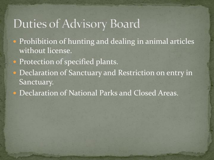 Duties of Advisory Board
