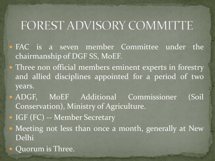 FOREST ADVISORY COMMITTE