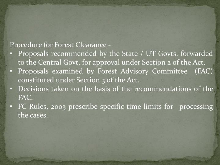 Procedure for Forest Clearance -