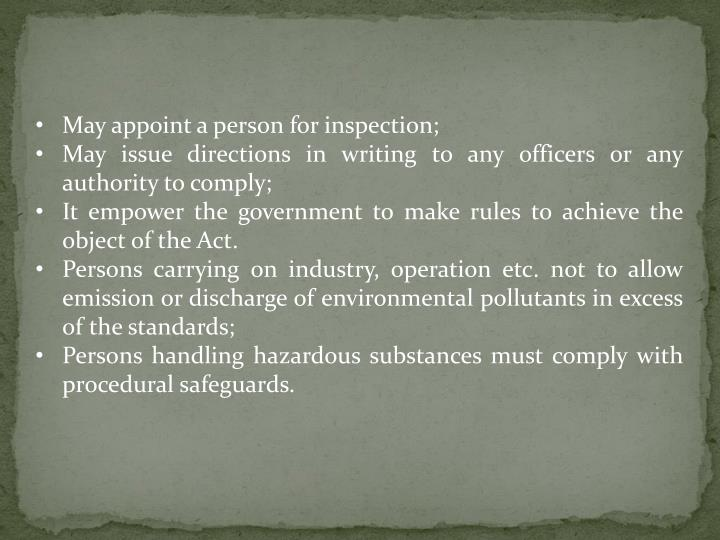 May appoint a person for inspection;