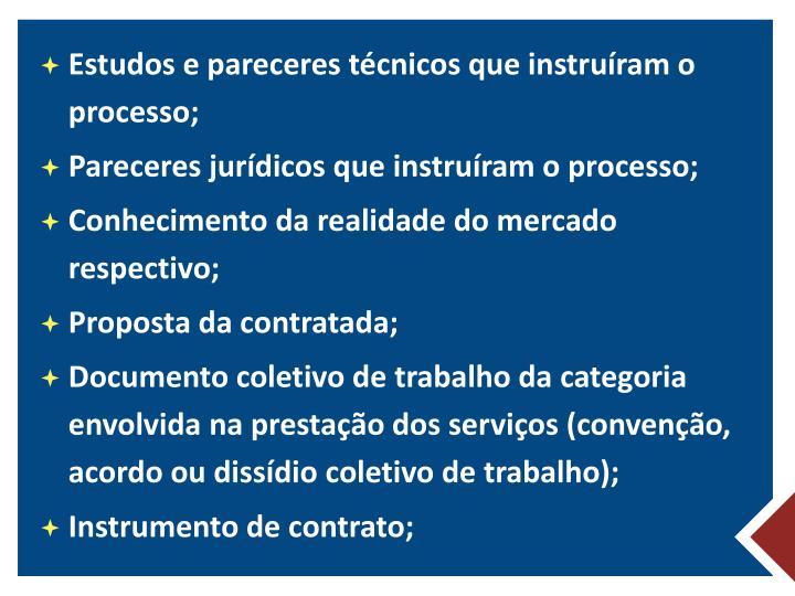 Estudos e pareceres técnicos que instruíram o processo;