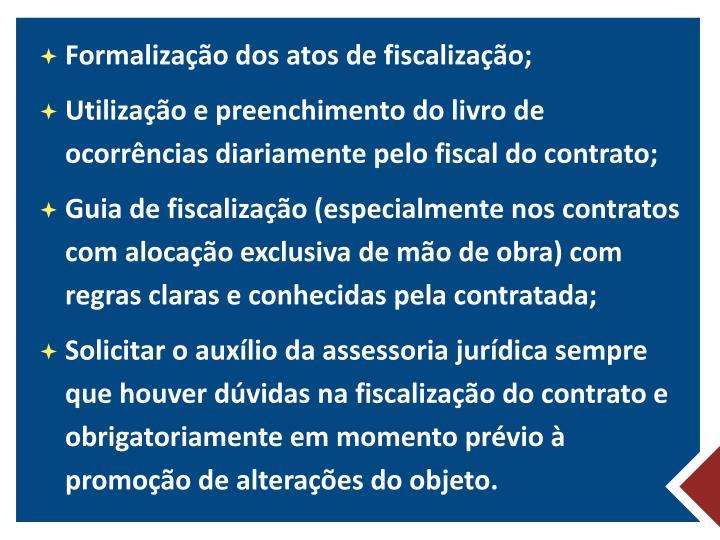 Formalização dos atos de fiscalização;