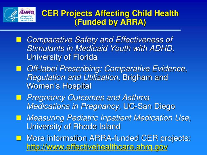 CER Projects Affecting Child Health