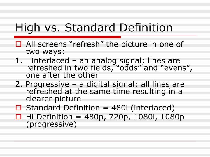 High vs. Standard Definition
