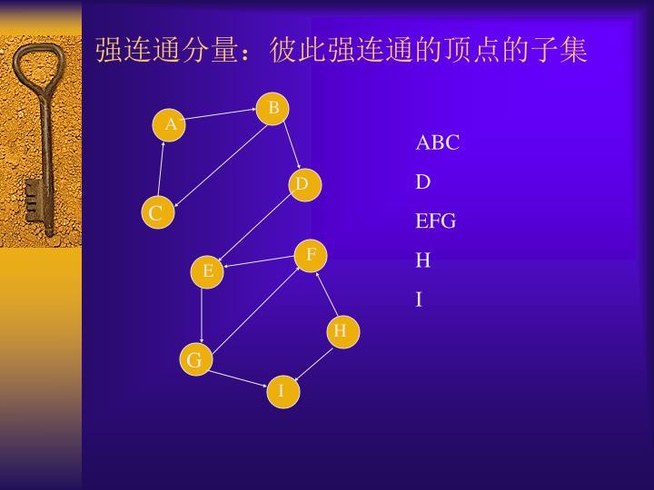 强连通分量:彼此强连通的顶点的子集
