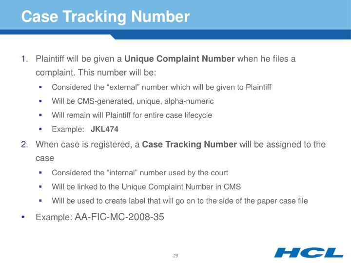 Case Tracking Number