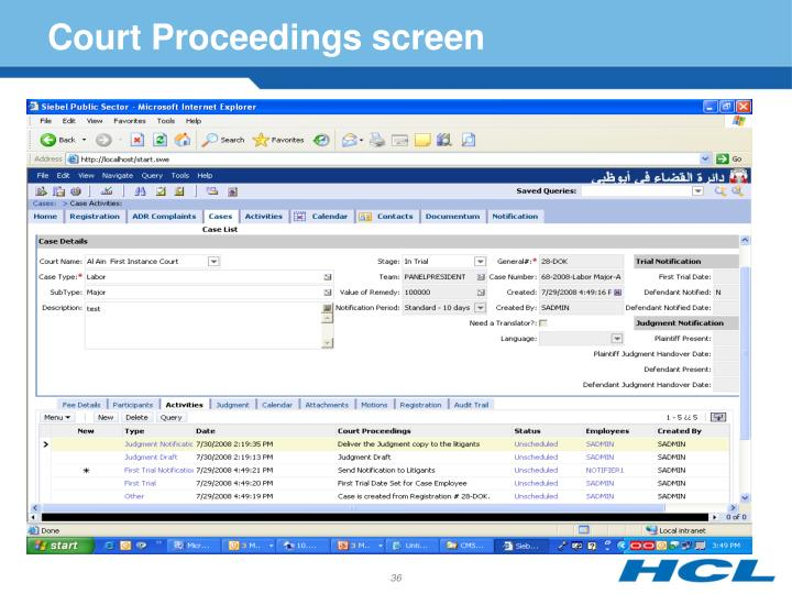 Court Proceedings screen