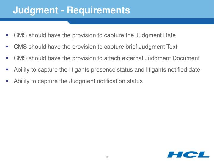 Judgment - Requirements