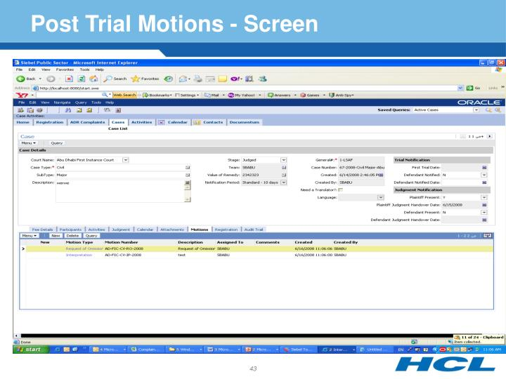 Post Trial Motions - Screen