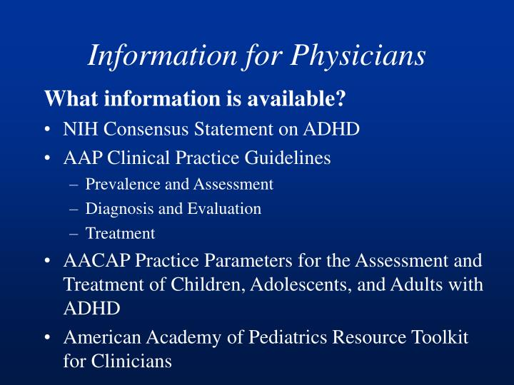 Information for Physicians