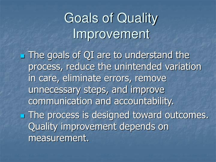 Goals of Quality Improvement