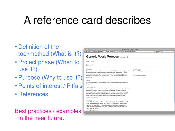 A reference card describes
