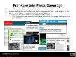 frankenstein press coverage