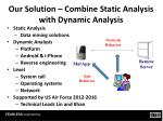 our solution combine static analysis with dynamic analysis