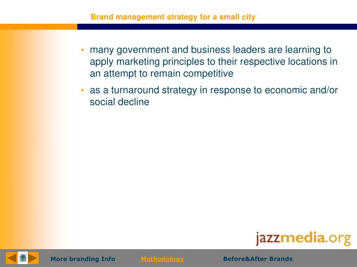 Brand management strategy for a small city