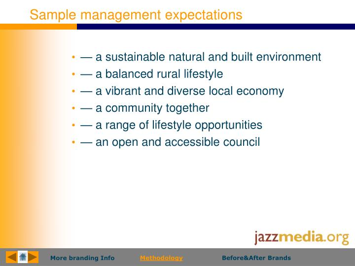 Sample management expectations