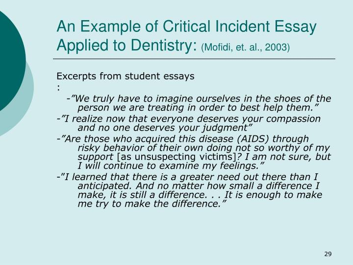 An Example of Critical Incident Essay Applied to Dentistry: