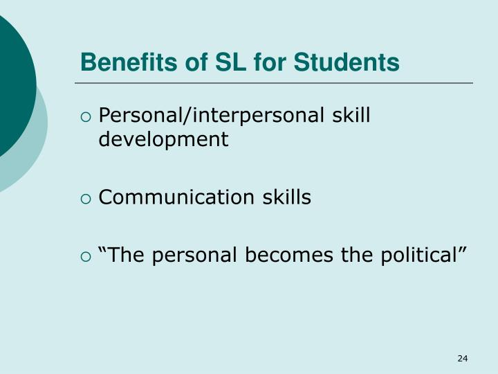 Benefits of SL for Students