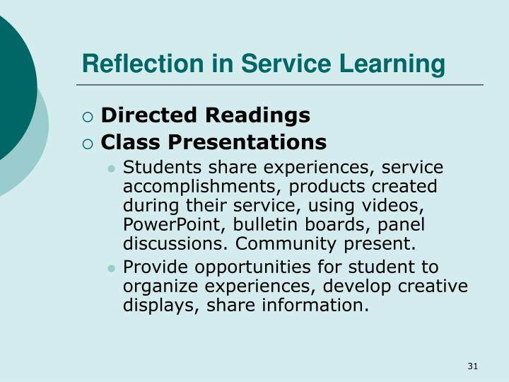 Reflection in Service Learning