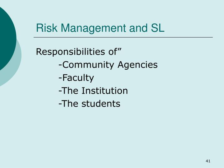 Risk Management and SL