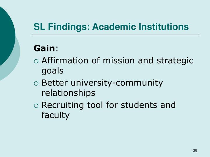 SL Findings: Academic Institutions