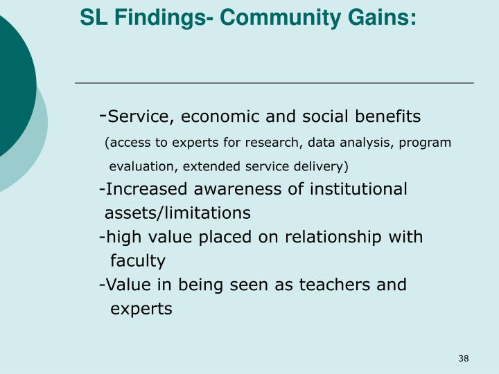 SL Findings- Community Gains:
