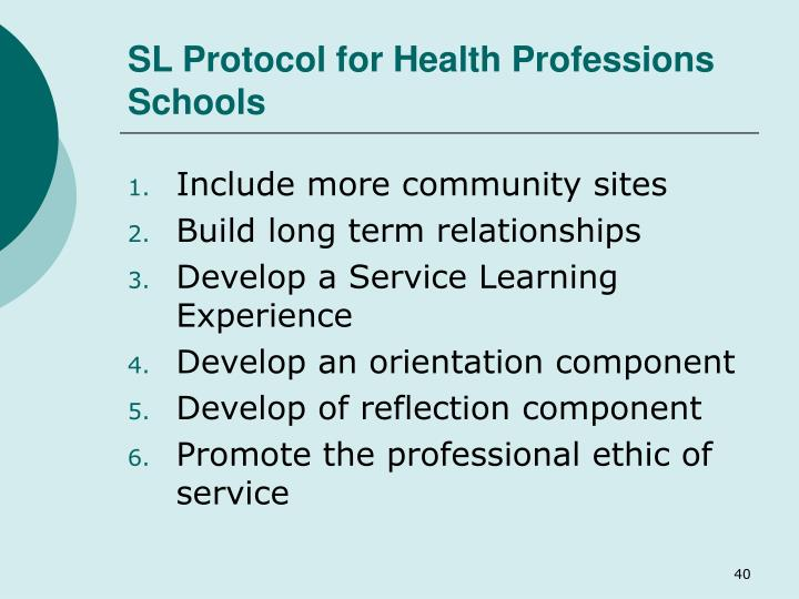 SL Protocol for Health Professions Schools