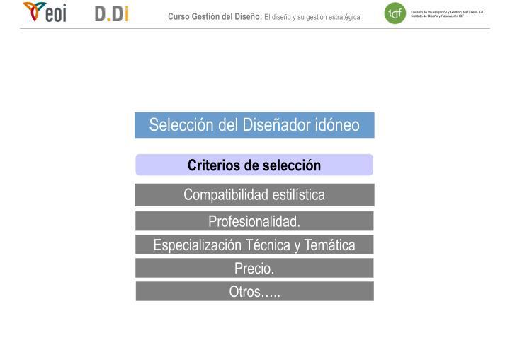 Selección del Diseñador idóneo