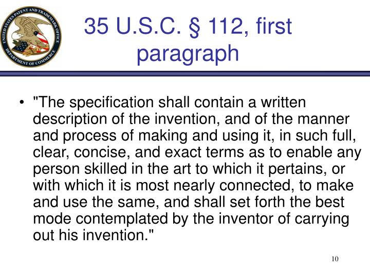 35 U.S.C. § 112, first paragraph