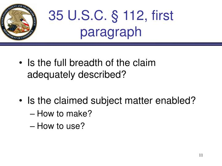 35 U.S.C. § 112, first paragraph