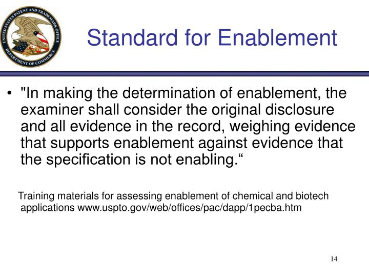Standard for Enablement