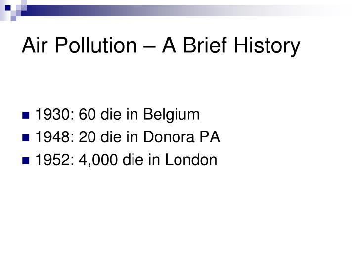 Air Pollution – A Brief History