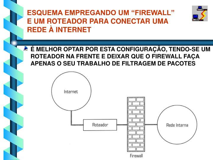 """ESQUEMA EMPREGANDO UM """"FIREWALL"""" E UM ROTEADOR PARA CONECTAR UMA REDE À INTERNET"""