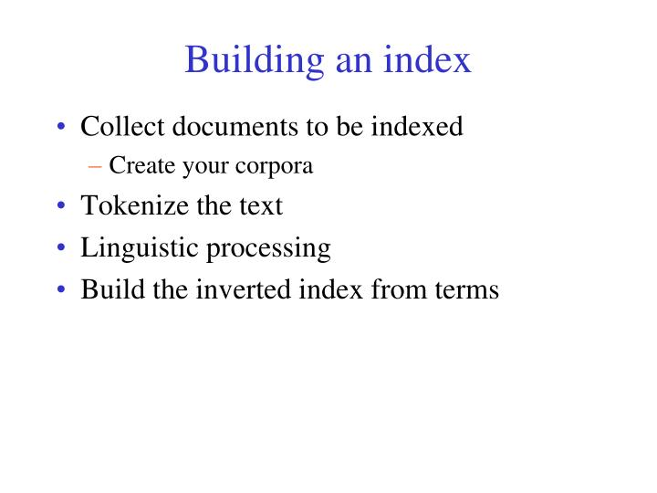 Building an index