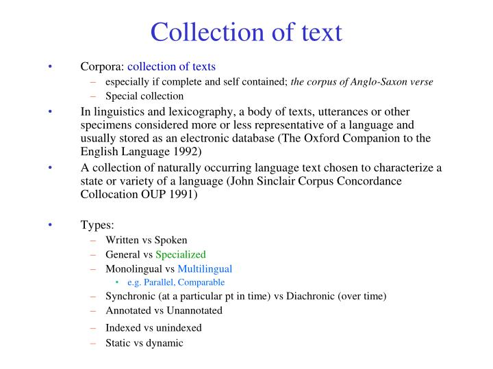 Collection of text
