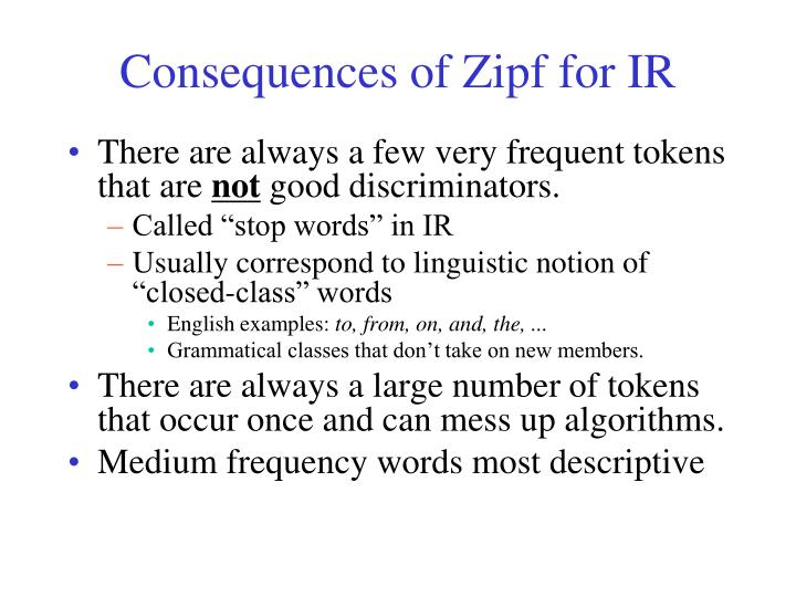 Consequences of Zipf for IR